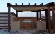 struttura in legno a bordo piscina con pergotenda + zona cucina